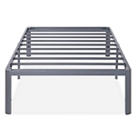 Twin Heavy Duty Platform Bed Frame with Round Corners in Grey Metal