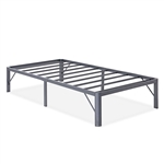 Twin XL Heavy Duty Grey Metal Platform Bed Frame with Round Corners