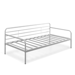 Twin size White Metal Daybed Frame with Steel Support Slats