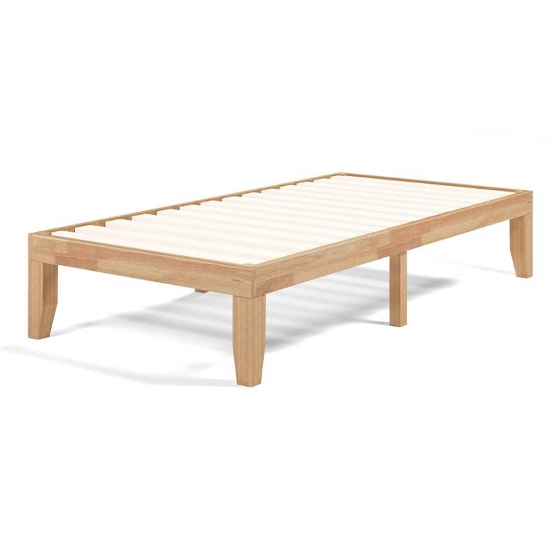 Twin Solid Wood Platform Bed Frame In Natural Finish Fastfurnishings Com