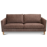 Modern Light Brown Coffee Fabric Mid-Century Style Sofa with Wood Legs