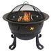 Outdoor Star Moon Steel Wood Burning Fire Pit in Bronze Finish