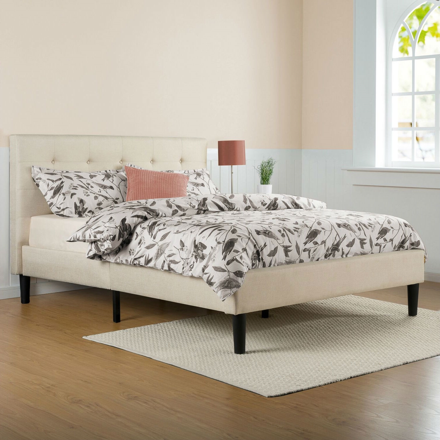 Full Size Taupe Beige Upholstered Platform Bed Frame With