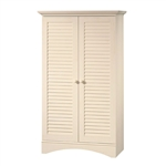 Vintage Antique White Wood Finish Wardrobe Armoire Storage Cabinet with Louver Doors