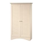 老式古董白木完成衣柜衣橱储物柜,带百叶门