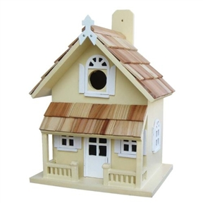 Yellow Victorian Cottage Wood Outdoor Birdhouse