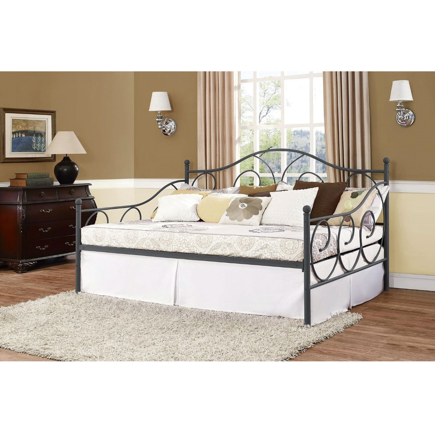 Full size Metal Daybed Frame Contemporary Design Day Bed in Bronze ...