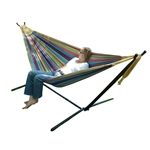 Tropical Fabric Double Hammock with 9-Foot Steel Stand