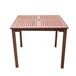 Outdoor Garden Deck Patio Dining Table 35-inch Square with Umbrella Hole