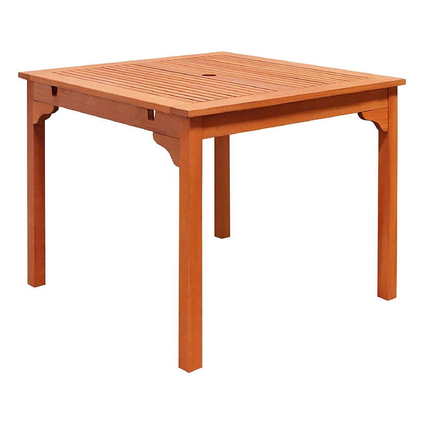 Square 35 inch outdoor wooden patio dining table with 2 inch diameter umbrella hole fastfurnishings com