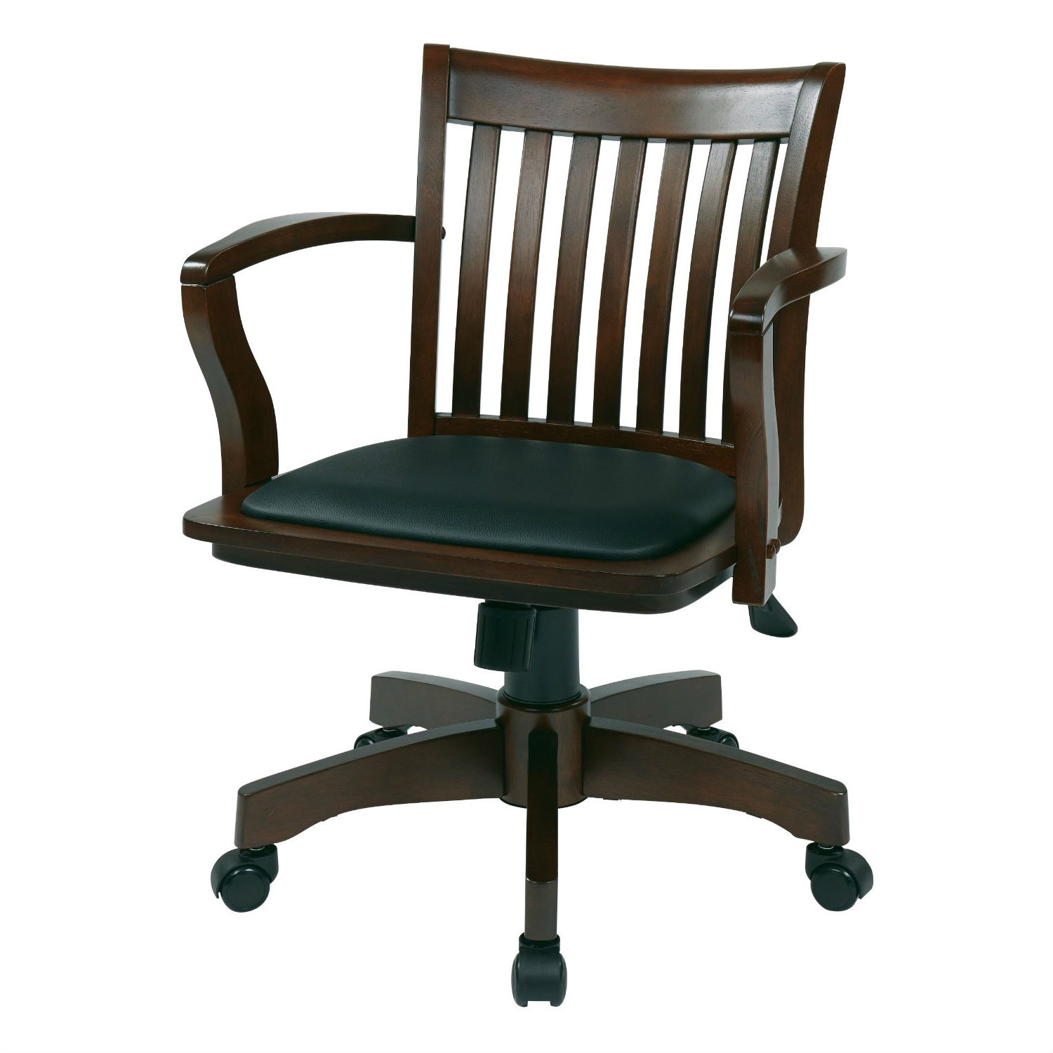 Marvelous Espresso Bankers Chair With Black Vinyl Padded Seat And Wood Arms