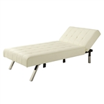 Vanilla Chaise Lounge Sleeper Bed with Contemporary Chrome Legs