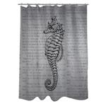 灰色海马编织涤纶浴室淋浴帘