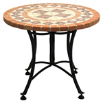 24-inch Round Bistro Style Mosaic Outdoor Patio Table Terracotta Tiles