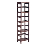 4-Shelf Narrow Shelving Unit Bookcase Tower in Espresso
