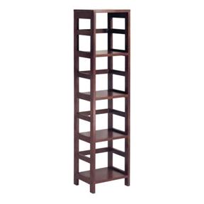 4-Shelf Narrow Shelving Unit Bookcase Tower in Espresso