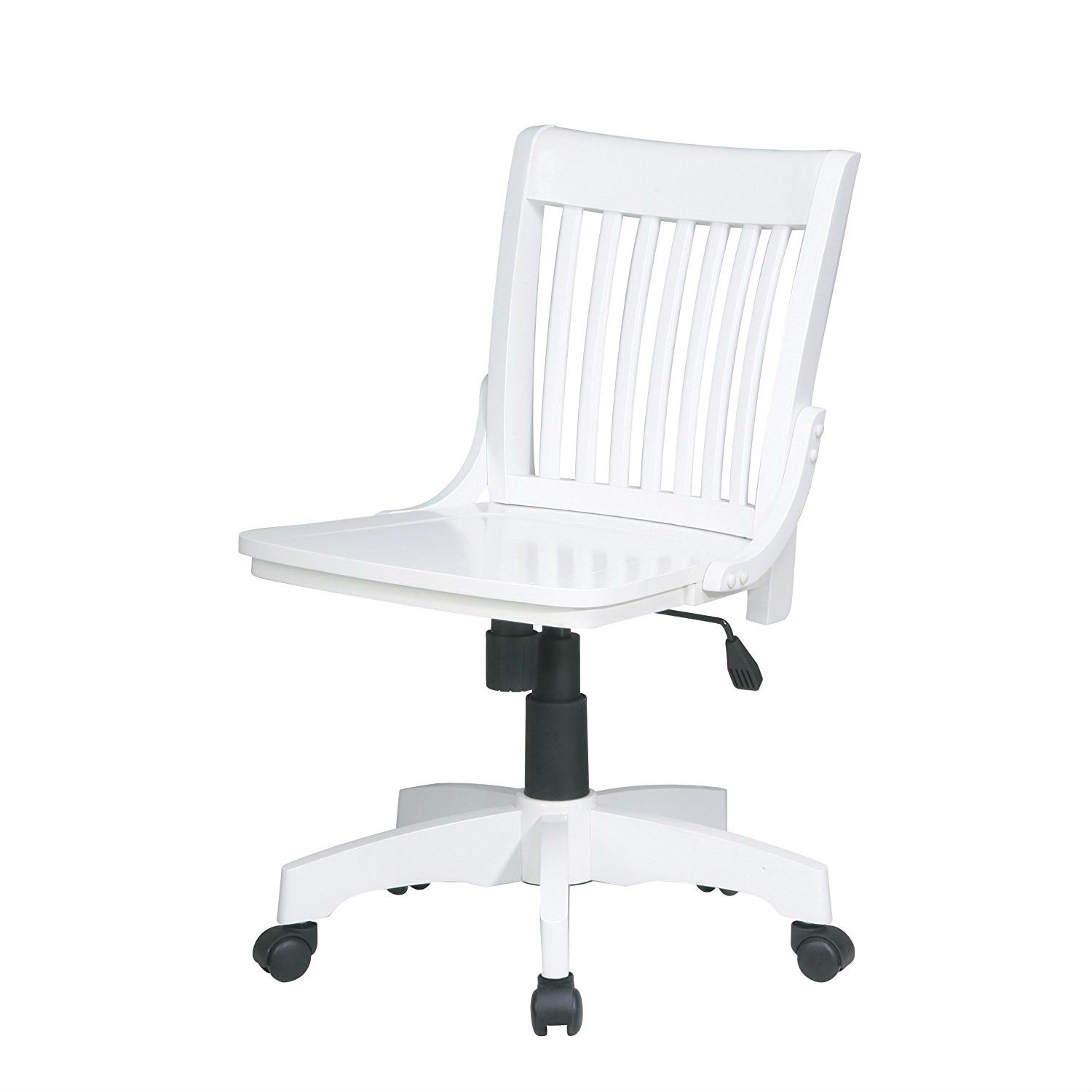 Nice White Armless Bankers Chair With Wood Seat
