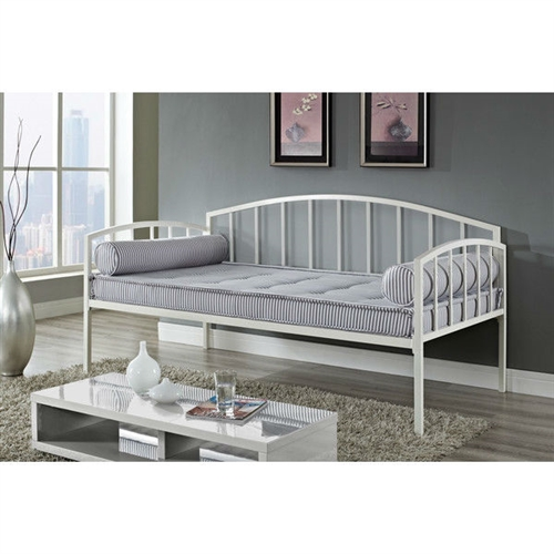 Twin size white metal day bed frame 600 lb weight limit for Sofa bed weight