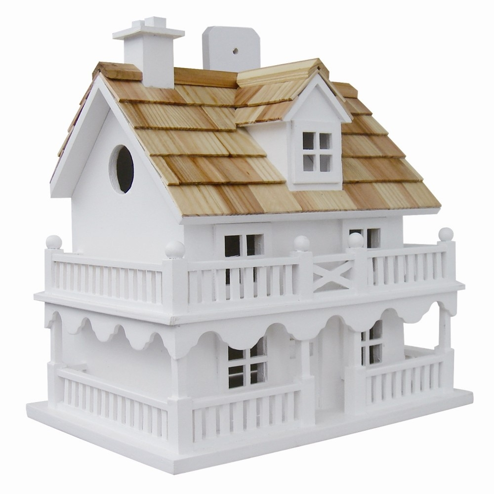 White Cottage Style Wood Birdhouse With Unpainted Nest Box