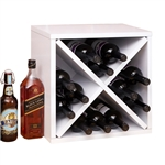 12-Bottle Stackable Wine Rack in White Wood Finish