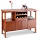 Modern Sideboard Buffet Cabinet with Wine Rack in Brown Wood Finish