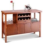 现代餐边柜,带酒架,棕色木饰面