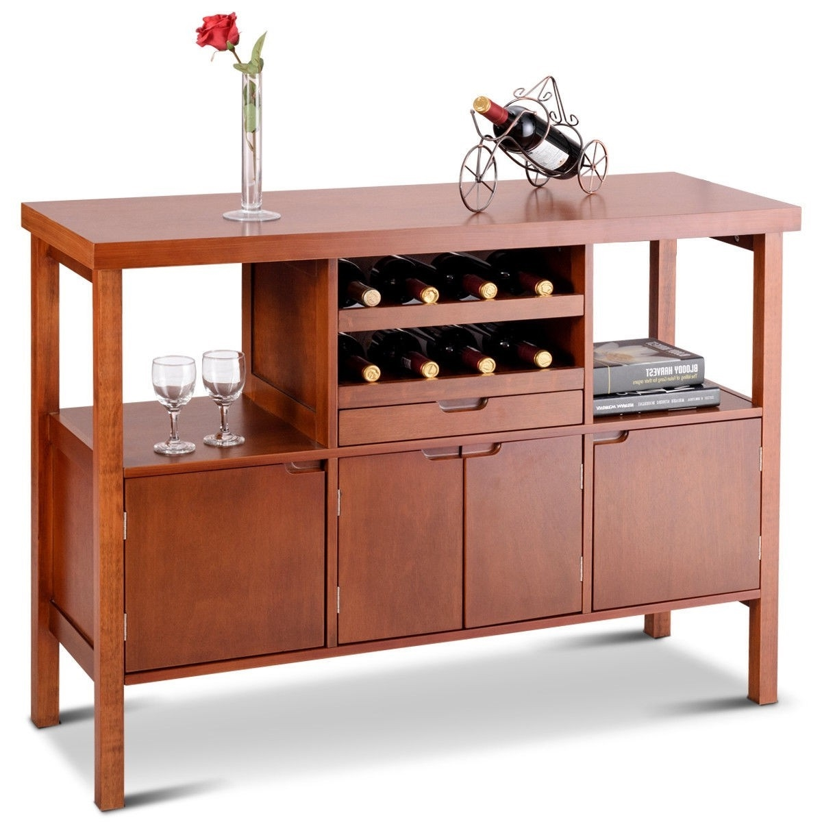 Picture of: Modern Sideboard Buffet Cabinet With Wine Rack In Brown Wood Finish Fastfurnishings Com
