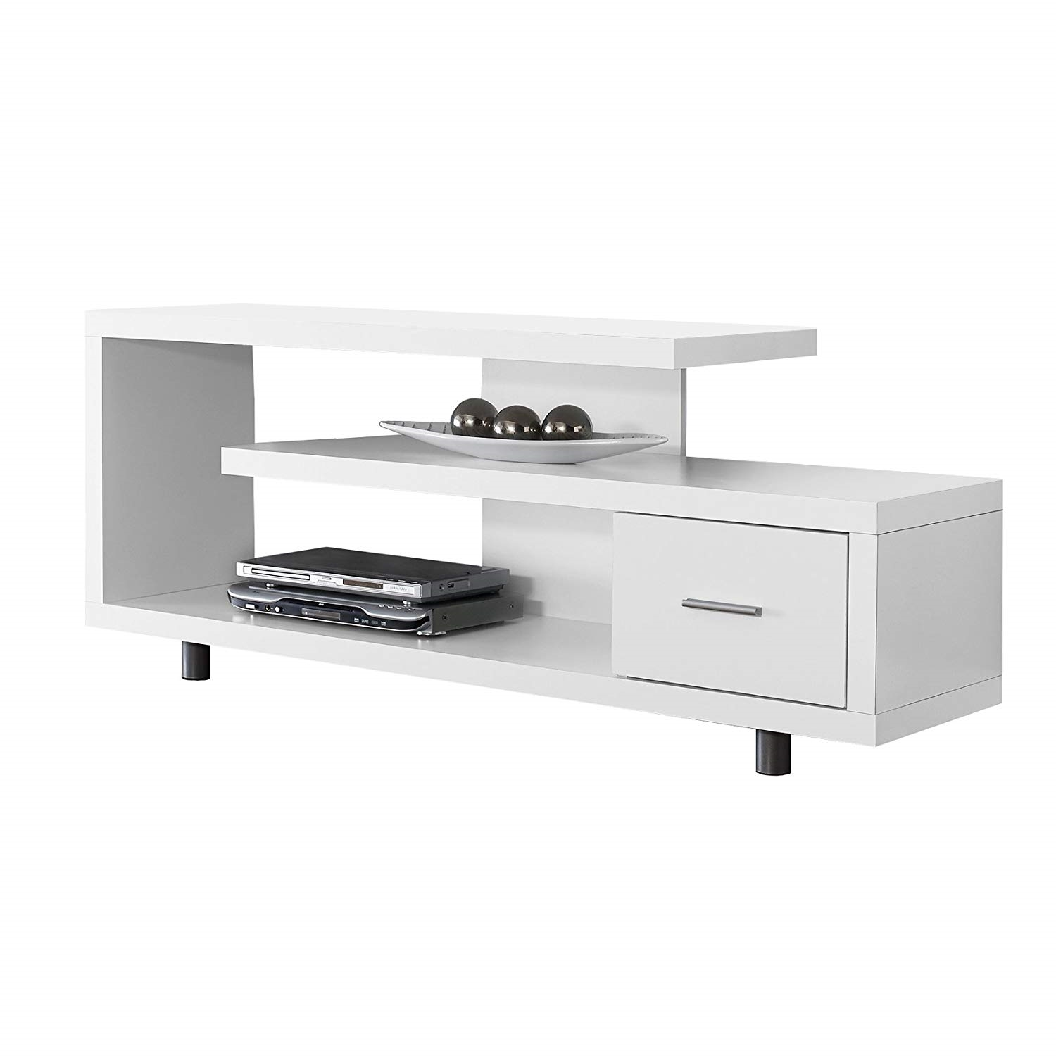 White Modern Tv Stand Fits Up To 60 Inch Flat Screen Tv