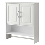 White Bathroom Wall Cabinet with Open Shelf with Towel Rod