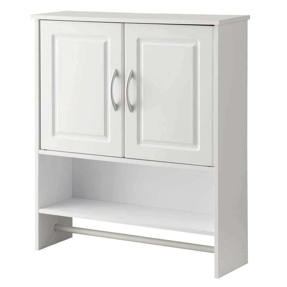 White Bathroom Wall Cabinet With Open Shelf With Towel Rod Fastfurnishings Com