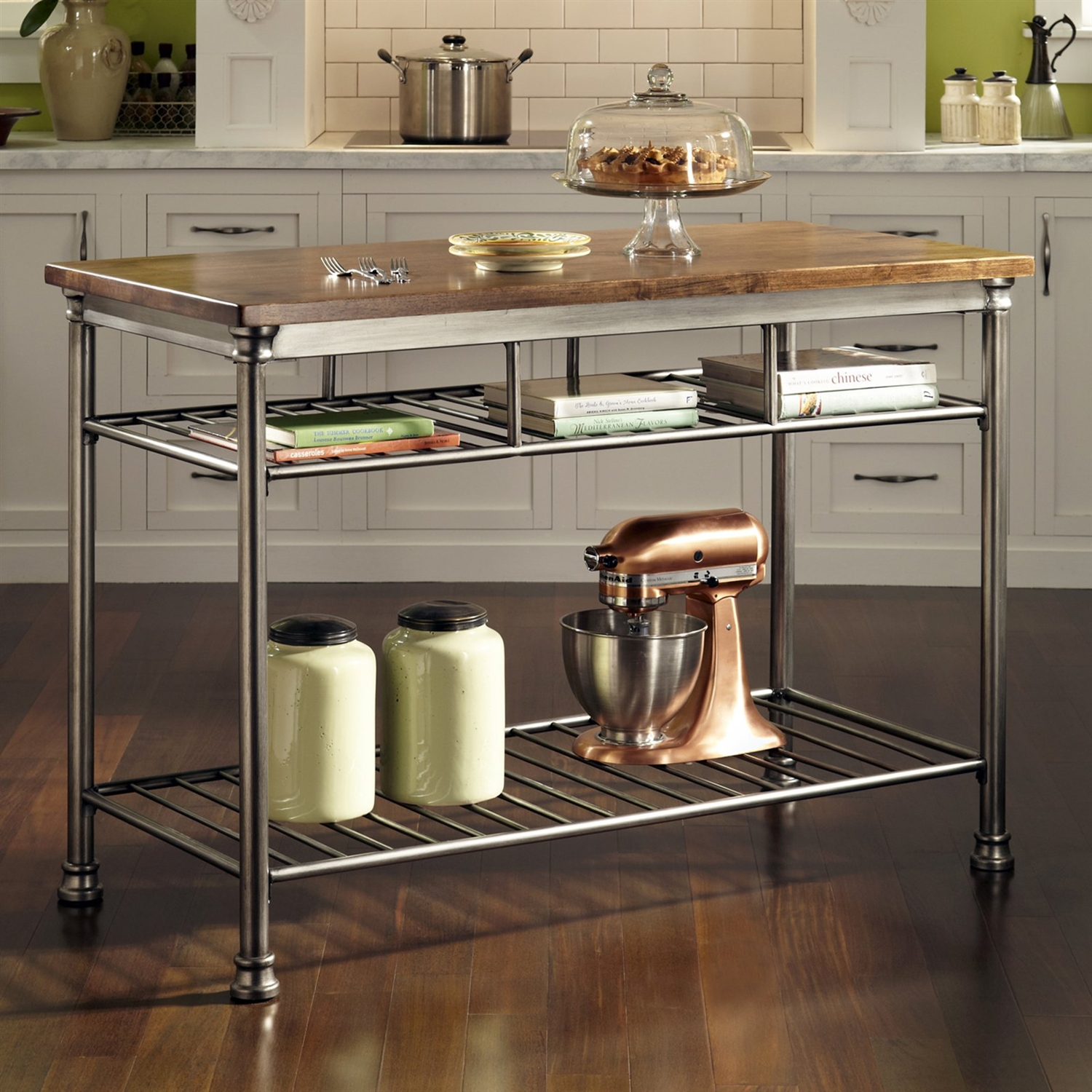 Small metal kitchen table - Classic French Style Hardwood Butcher Block Top Metal Kitchen Utility Table