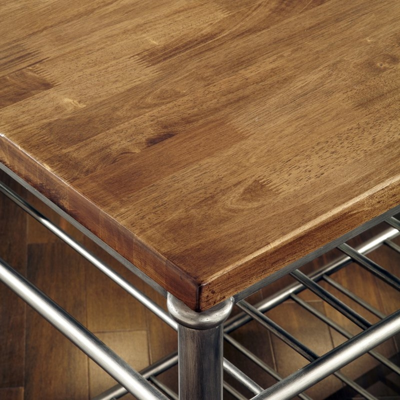 Classic French Style Hardwood Butcher Block Top Metal Kitchen Utility Table FastFurnishings.com