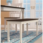 Kitchen Seating Wooden Bench in White and Brown Finish