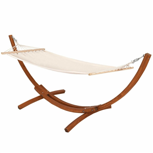 Outdoor 11.8-ft Modern Arc Hammock Stand with Beige Cotton Blend Hammock