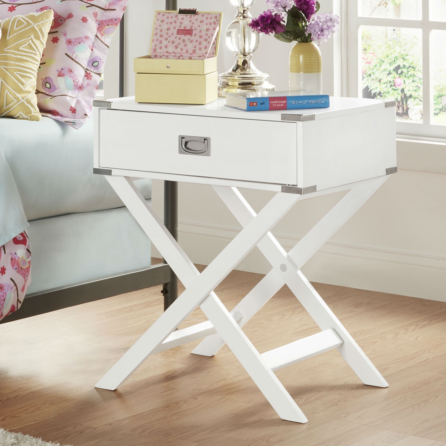 White Modern Bedroom Decor 1-Drawer Bedside Table Nightstand End Table