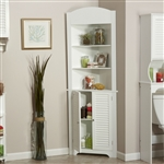 Bathroom Linen Tower Corner Storage Cabinet with 3 Open Shelves in White