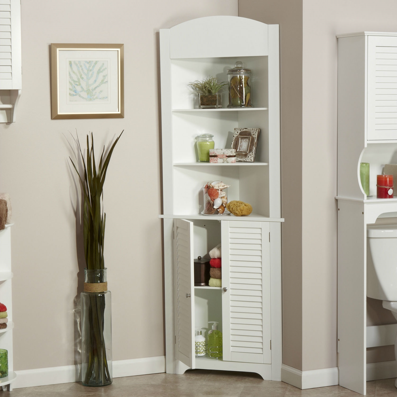 bathroom linen tower corner storage cabinet with 3 open 24638