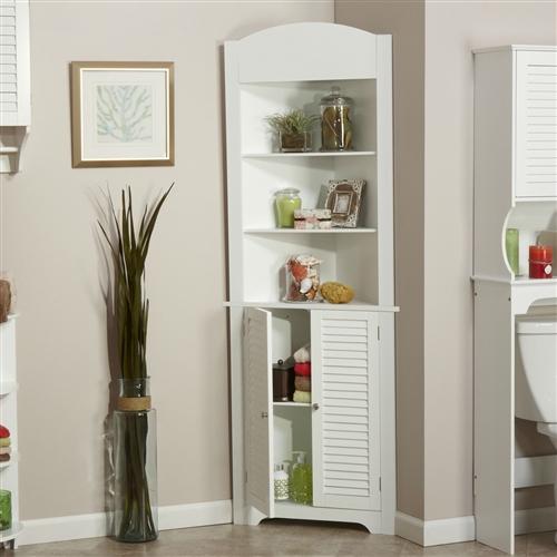 Bathroom Linen Tower Corner Storage Cabinet With 3 Open