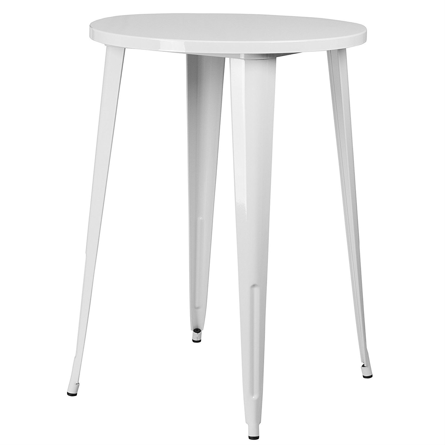 White 30 Inch Round Outdoor Metal Bar Bistro Patio Table Fastfurnishings