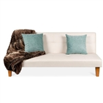 Convertible Faux Leather Tufted Lounge Futon Sofa Bed Adjustable Back in White
