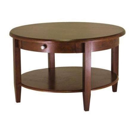 Circular Wood Coffee Table with Bottom Shelf and Drawer