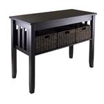 带折叠篮的意式浓缩木控制台大厅沙发桌