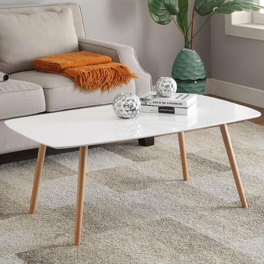 White Top Mid Century Coffee Table With Solid Wood Legs