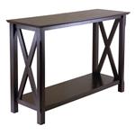 卡布奇诺咖啡色带底架的实木玄关沙发桌