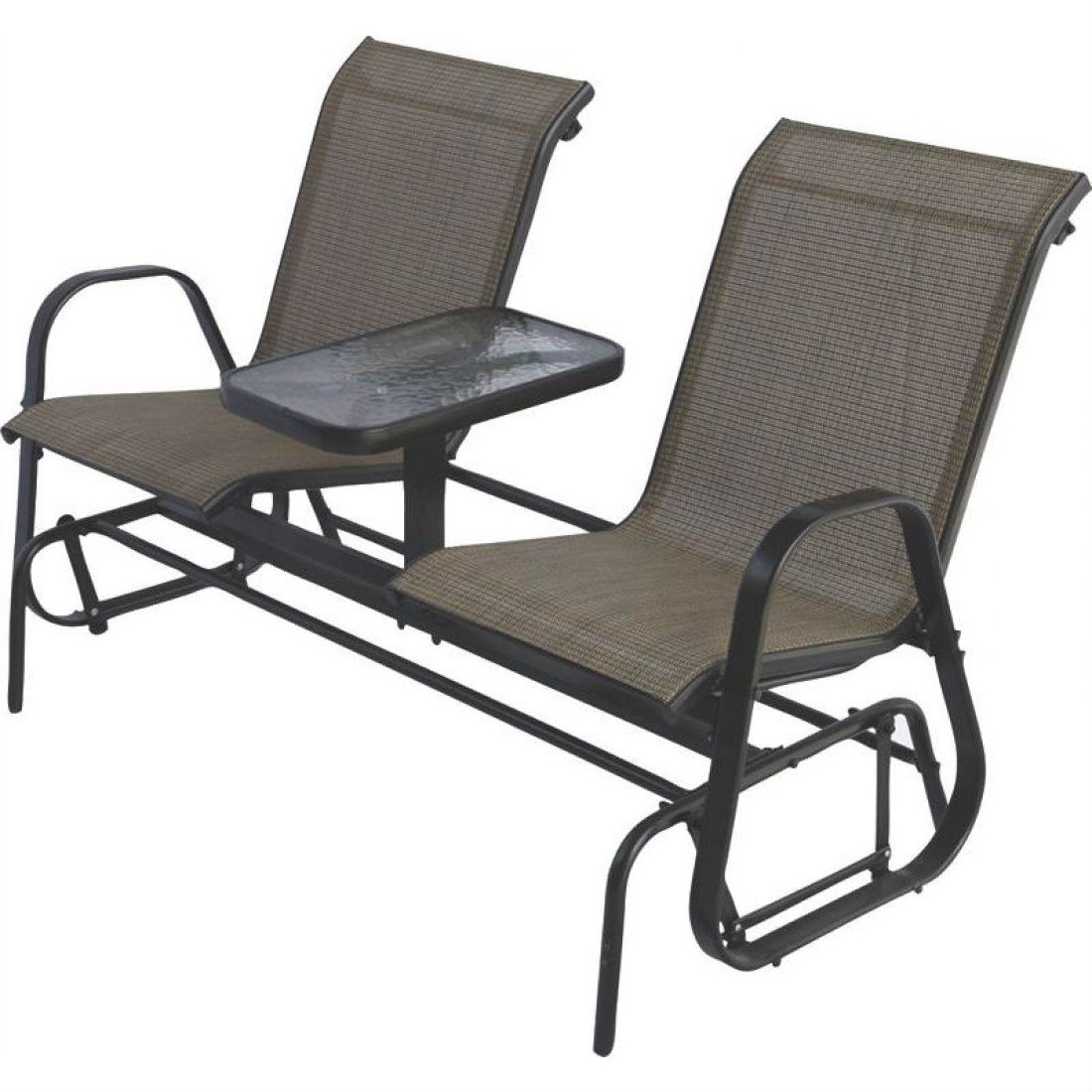 2 Person Outdoor Patio Furniture Glider Chairs With Console Table