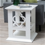 White Wood 2-Shelf Quatrefoil Side Table