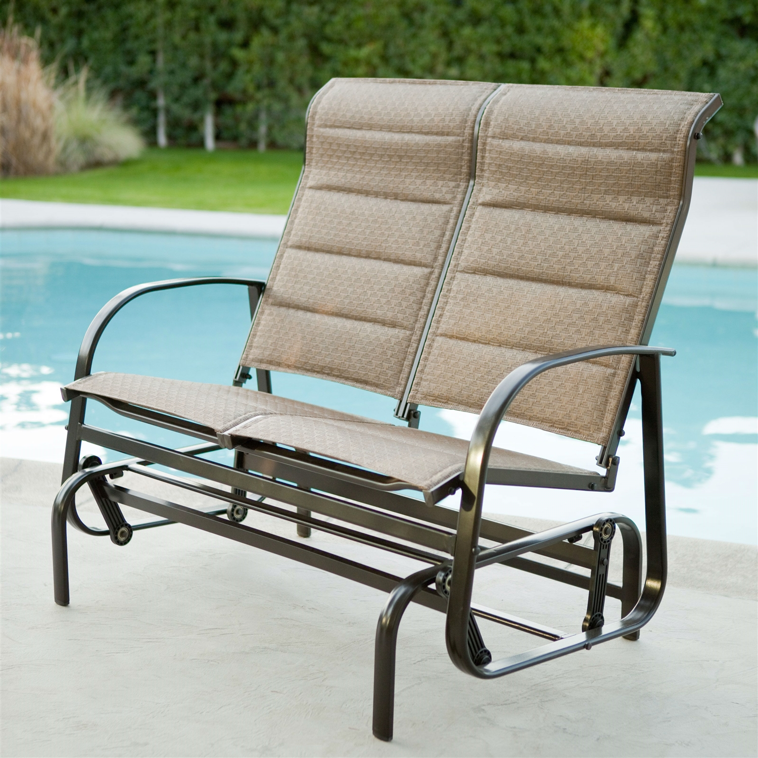 Weatherproof Outdoor Loveseat Glider Chair with Padded Sling Seats