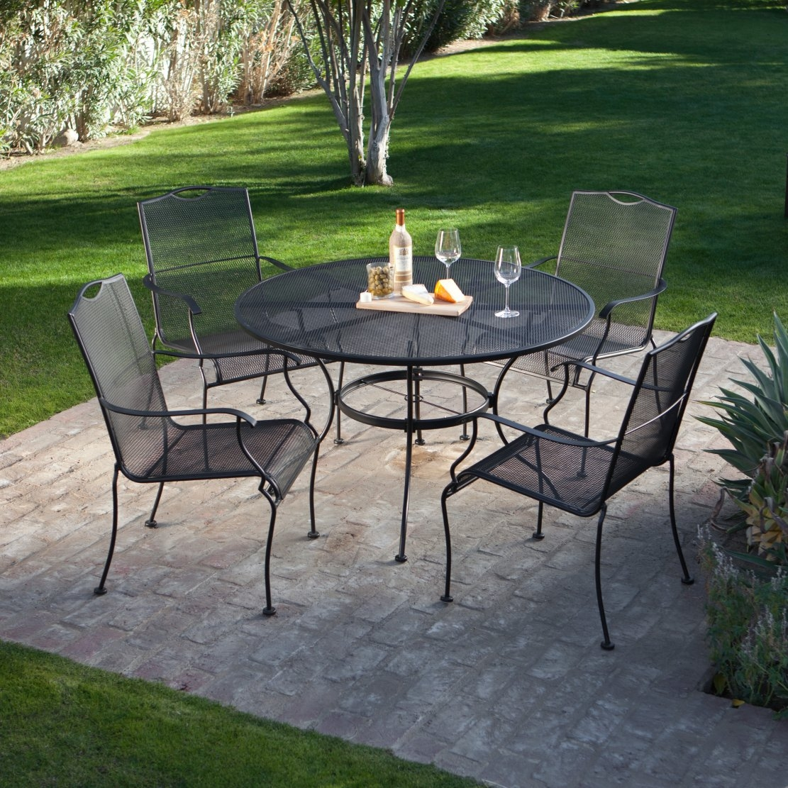 5-Piece Wrought Iron Patio Furniture Dining Set - Seats 4 : backyard table set - pezcame.com