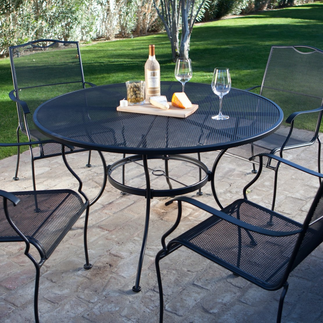 5 piece wrought iron patio furniture dining set seats 4 for Metal patio sets for sale