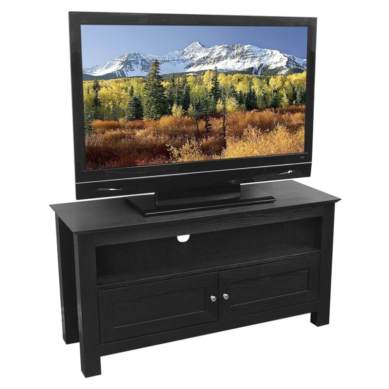 44 Inch Flat Screen Tv Stand In Black Wood Grain Finish